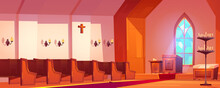 Catholic Church Interior With Altar, Wooden Benches, Tall Arch Window And Candles. Vector Cartoon Illustration Of Cathedral Inside, Old Room For Religious Praying With Pulpit For Priest