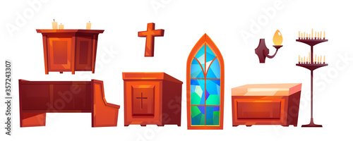 Catholic church inside interior stuff glass stained window, altar and wooden bench, cross, tribune, wall lamp, candles isolated on white background Canvas Print