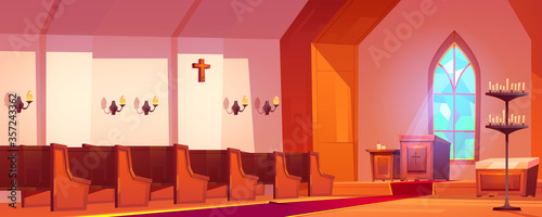 Catholic church interior with altar, wooden benches, tall arch window and candles Fotobehang