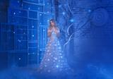 Magical fairytale night beautiful young princess woman. Blond hair. Luxury Queen dress bright sparks. retro vintage interior dark room tree magic glow shiny stars, blue snow. garland light on skirt