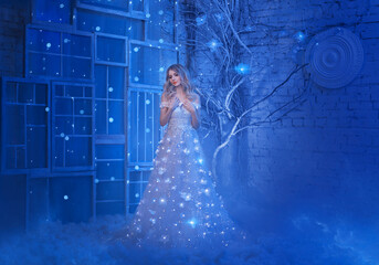 Magical fairytale night beautiful young princess woman. Blond hair. Luxury Queen dress bright sparks. retro vintage interior dark room tree magic glow shiny stars, blue snow. garland light on skirt