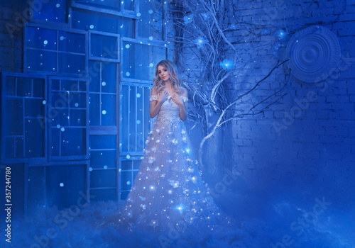 Obraz na plátně Magical fairytale night beautiful young princess woman