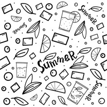 Black And White Summer Seamless Pattern With Cocktails, Mint Leaves, Fruits, Berries, Slices Of Oranges, And Lemons. Seamless Pattern For Print, Textile, Fabric, Packaging Design, Summer Labels.
