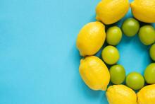Top View Of Ripe Yellow Lemons...