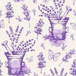 Vintage seamless pattern with lavender flowers