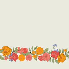 Hand drawn flower natural frame background. Vector Illustration