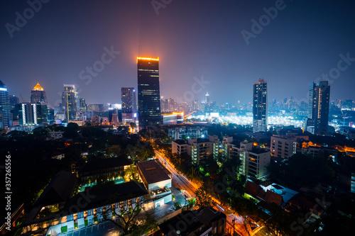 Thailand, Bangkok, Illuminated city downtown at night - 357265556