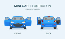 New Modern Mini Car With Opened Doors. Front And Back View. Flat Vector Illustration.