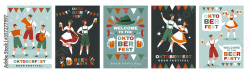 Set of five different Oktoberfest poster designs showing people in traditional B Wallpaper Mural
