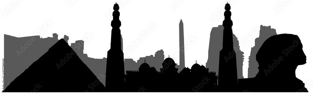 Fototapeta Egypt, silhouette of landmarks (mosque, sphinx, pyramis, ruins and etc). Vector illustration.