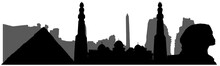 Egypt, Silhouette Of Landmarks (mosque, Sphinx, Pyramis, Ruins And Etc). Vector Illustration.