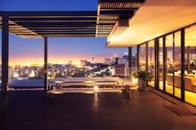 Illuminated Luxury House And P...