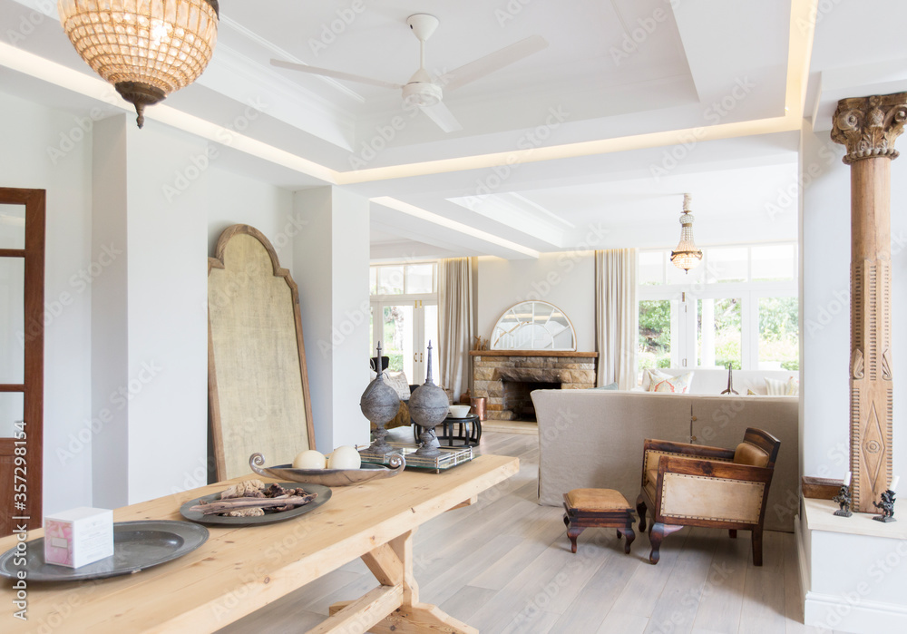 Fototapeta Wooden table in luxury dining room