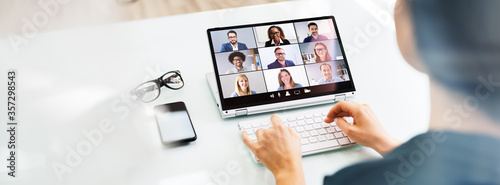 Fototapeta Online Video Conference Interview Call obraz na płótnie
