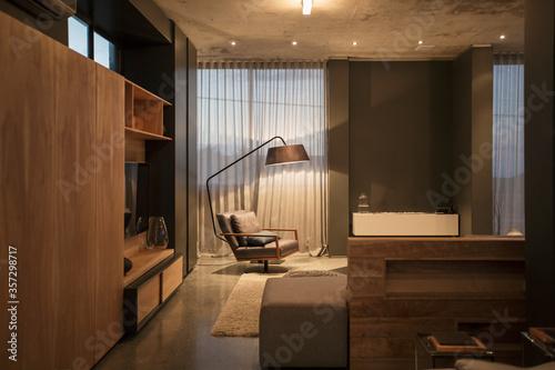 Chair and floor lamp in corner of modern living room Wallpaper Mural