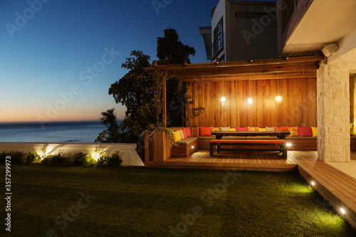 Fototapeta Illuminated patio at night obraz