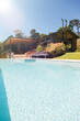 canvas print picture - House exterior with large swimming pool