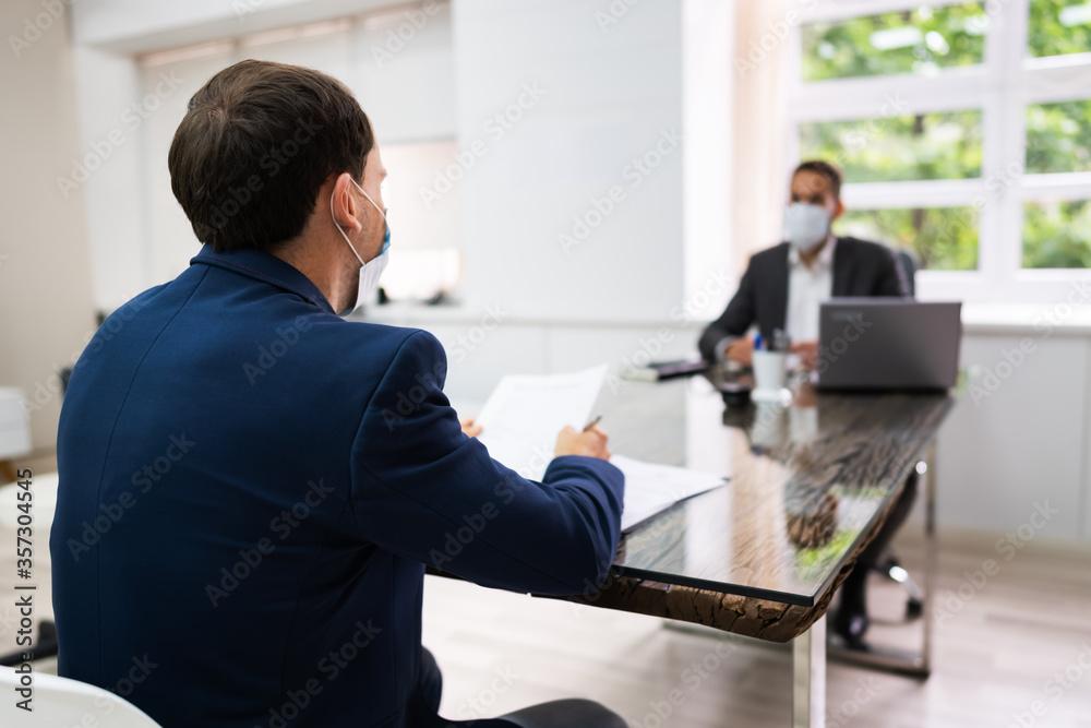 Fototapeta Job Interview Business Meeting At Law Office