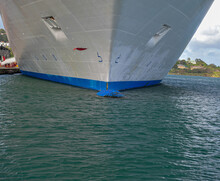 Close Up Of A Semi Submerged Bulbous Bow Of A Ship Docked In Tortola Port, British Virgin Islands