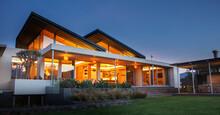Illuminated Luxury Modern House At Night