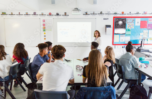 High school students watching female teacher leading lesson at projection screen Fototapete