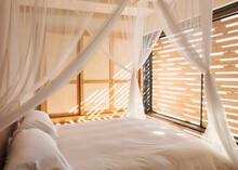 White Gauze Curtains On Canopy...