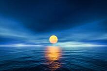 Sunset Yellow Sun Calm Blue Se...