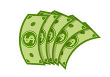 Money Fan Banknote Flat Cartoo...