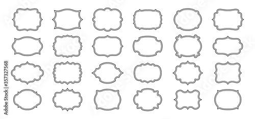 Obraz Label frames line set. Black linear sticker tag. Decorative vintage empty curly frame collection. Outline silhouette, various shape figured banner. Isolated vector illustration - fototapety do salonu