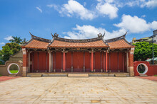 """Front Gate Of Confucius Temple In Changhua, Taiwan. The Translation Of The Chinese Text Is """"Halberd Gate"""""""