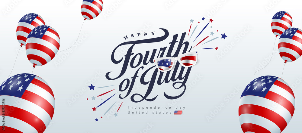 Fototapeta Independence day USA banner template american balloons flag decor.4th of July celebration poster template.fourth of july vector illustration .