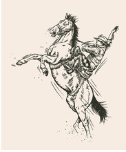 Hand Drawn Sketch Of Cowboy On Horse. Vector Illustration