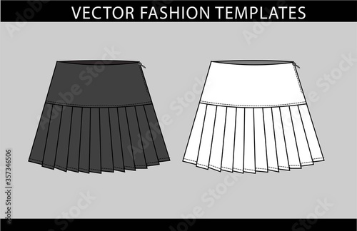 SKIRT fashion flat sketch template, pleated skirt front and back Canvas Print