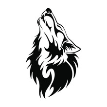Wolf Head Howl Design Tribal T...
