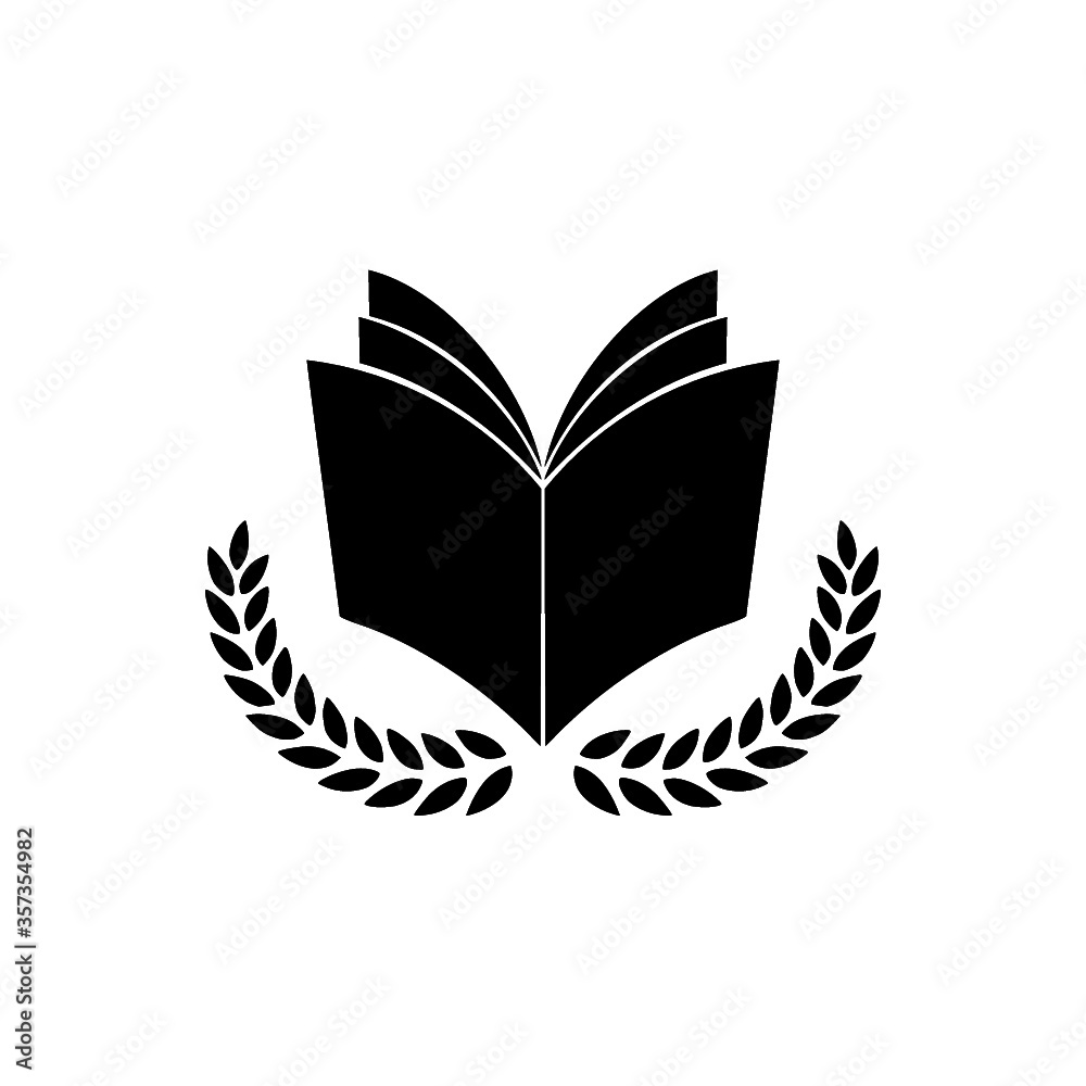 Fototapeta University education logo design with open book and laurel branch. Book and laurel icon isolated on white background
