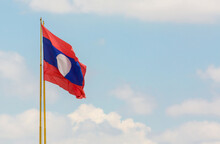 Laos Flag In The Blue Sky
