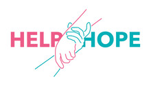 Help And Hope Concept - Drawn Outline Helping Hands - Benevolence Charity Illustration