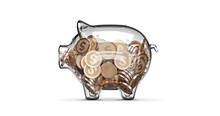 Glass Piggy Bank Stuffed With ...