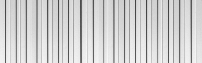 Panorama of White corrugated metal texture surface or galvanize steel background.