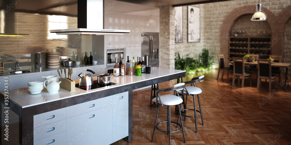 Kitchen inside the Loft Apartment - 3d visualization