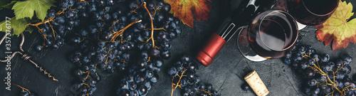 Fototapeta Wine composition on dark rustic background obraz