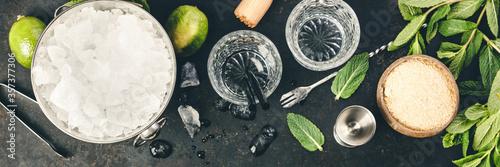 Obraz Metal ice bucket and mojito ingredients - fototapety do salonu
