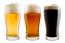 Variety Of Beer Glasses With Foam, Isolated On White Background