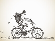 Sketch Of Girl With Basket On ...