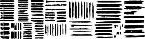 Obraz Grunge Paint Roller . Vector brush Stroke . Distressed banner . Black stripes isolated. paintbrush collection . Modern Textured shape . Dry border in Black . Bulge lines . Rough edges.  - fototapety do salonu