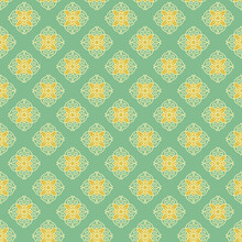 Retro Vintage Chinese Traditional Pattern Seamless Background Green Spiral Curve Cross Frame Line Flower