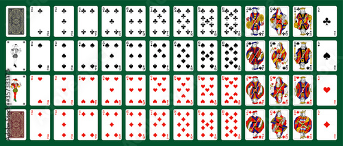 Carta da parati Poker set with isolated cards on green background
