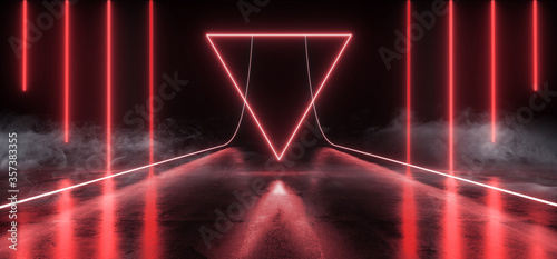 Smoke Steam Neon Laser Sci Fi Futuristic Triangle Glowing Red Shape Lines Beams On Grunge Reflective Concrete TUnnel Warehouse Garage Showroom 3D Rendering