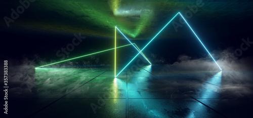 Smoke Steam Neon Laser Sci Fi Futuristic Glowing Green Blue Shape Lines Beams On Grunge Reflective Concrete Corridor Warehouse Garage Showroom 3D Rendering