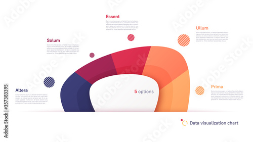 Obraz na plátně Vector pie chart infographic template in the form of abstract shape divided by f